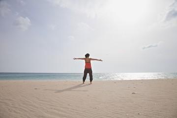 greeting woman at Lances beach
