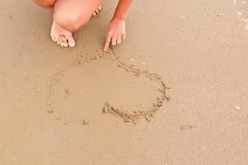 Girl drawing  heart