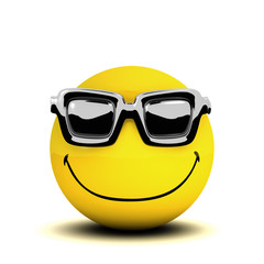 3d Smiley wears sunglasses in  the summer