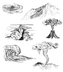 hand drawn sketch of six natural disasters