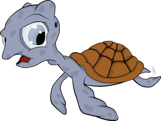 Small turtle. Cartoon