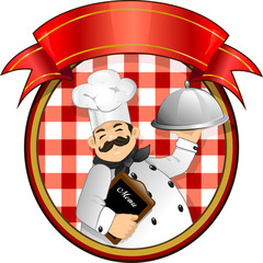 Chef with red checkered tablecloth