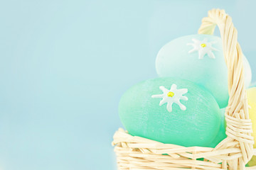 Easter eggs against a blue background.
