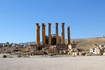 Ruins of the Greco-Roman city of Gerasa. Ancient Jerash, in Jord