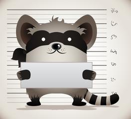 Cartoon Raccoon Mug Shot