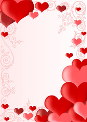 frame with pink and red hearts