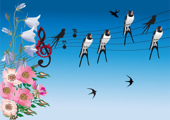 singing birds and flowers illustration