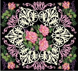pink rose design in frame pattern