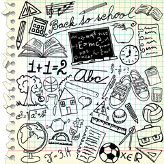 Squared paper with school symbols - vector illustration