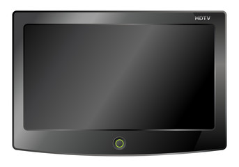 black lcd tv screen hanging on