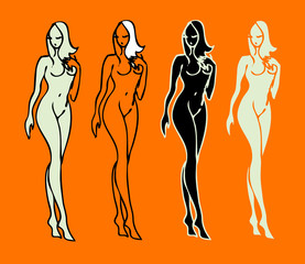 beautiful nude woman silhouettes vector sketch emblems
