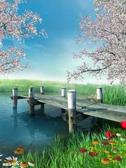 Wall Mural - Molo z wiosennymi kwiatami i drzewami