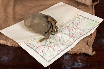 Vintage flask and map