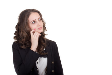Bussiness woman looking up and thinking isolated