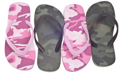 Masculine and Feminine Camouflage Flip Flop Sandals