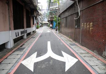 Pfeile auf kleiner Gasse Taipei