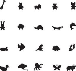 Set of black animals