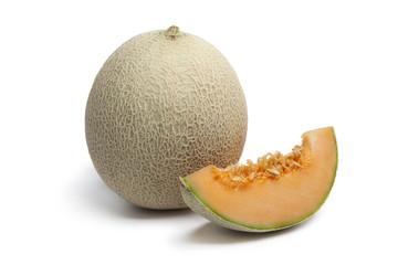 Whole and sliced Cantaloupe melon