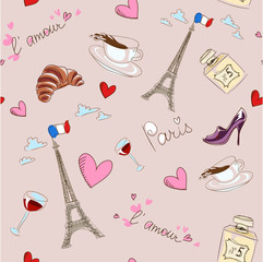 Self adhesive Wall Murals Doodle Paris seamless pattern