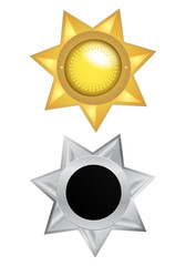 gold and silver medal star