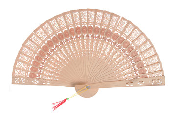 Carved wooden hand fan with red tassle