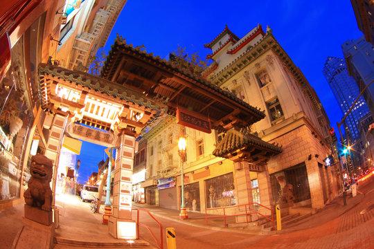 San Francisco Chinatown Gate at Night by Fisheye Lens