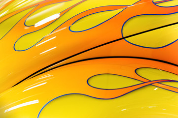Wall Mural - colorful flaming paintwork on a hot-rod hood