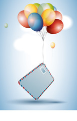 Ccolorful balloons with postcard