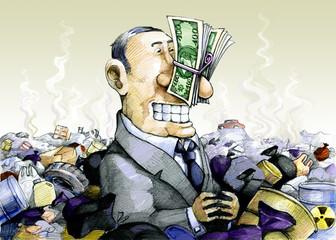 Corruption odorless allegory of bribe humor illustration