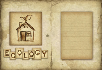 Old paper with drawing of eco house