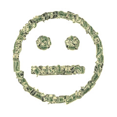 Symbol of indifference combined from dollars