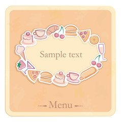 Frame with images of food and drinks