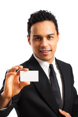 Geschäftsmann zeigt Visitenkarte