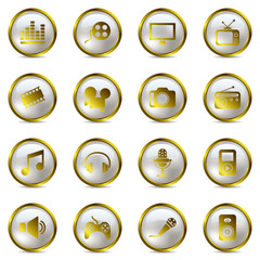 Multimedia gold icons set