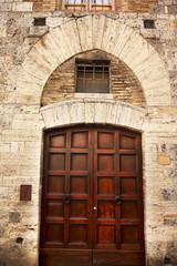 Ancient Brown Door Stone Doorway Medieval Town San Gimignano Tus