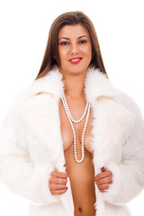 woman in fur coat with naked breast