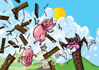 Cartoon of three pigs