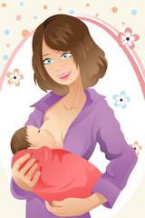 Breast feeding woman