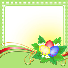 three Easter eggs with a bouquet on a green plaid background