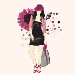 Fotobehang Bloemen vrouw Fashion girl in hat on a floral background