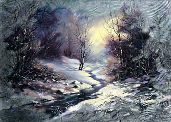 Landscape with winter wood small river