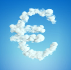 Cloud Euro currency symbol shape