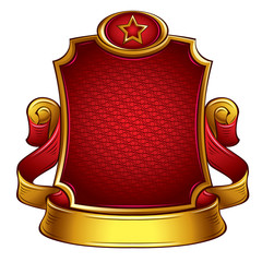 USSR retro style emblem with ribbon and shield.