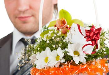 Fotobehang - Bouquet of flowers against happy groom