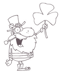 Outlined Male Leprechaun Holding Up A Clover