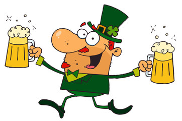 Male Leprechaun Running Through Clovers With Beers