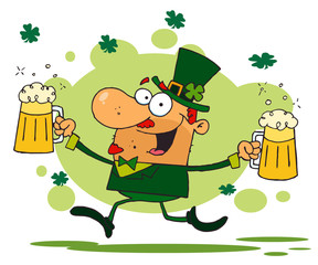 Male Leprechaun Running Through Shamrocks With Beers