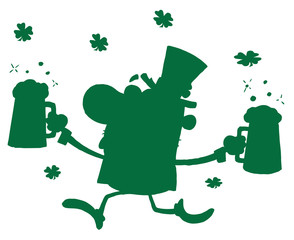 Green Silhouetted Male Leprechaun Running With Beers