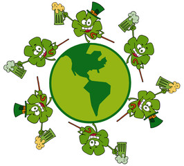 Shamrocks Running Around A Globe With Green And Yellow Beer