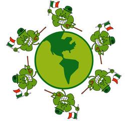Circle Of Shamrocks Running Around A Globe With Irish Flags